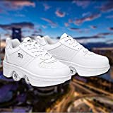 DHTOMC Roller Shoes Adulte Chaussure Roller Fille Kick Roller Skate Shoes Patins A roulettes 4 Roues Patins A roulettes Casual Sneakers pour Fille Et Garçon,EUR39