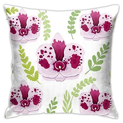 Funda de almohada para sofá de 48 x 48 cm, diseño de orquídea blanca