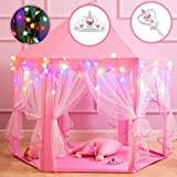 Princess Castle Play Tents for Girls, Kids Play Tent with Star Lights, Bonus Princess Tiara and Wand, Large Size 55' x 53' Pink Hexagon Kids Playhouses Indoor & Outdoor, Girl Toy Gifts Age 3+