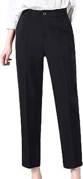 Guiran Mujer Pantalones Clasicos Rectos Elegantes Botones Oficina Pantalones De Vestir Talle Alto Largo Suelto Amazon Es Deportes Y Aire Libre