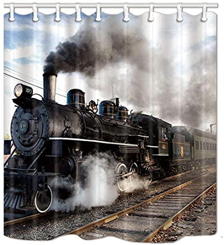 Cortinas de Ducha para locomotoras Locomotora de Vapor Industrial para Amantes del Tren Cortinas de baño