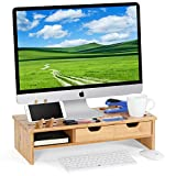 Tribesigns Monitor Stand Riser with Storage Organizer Drawers Bamboo, Natural Brown