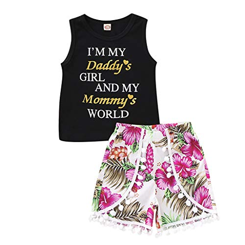 Fineday Girls Outfits&Set, Toddler Kids Baby Girl Letter Vest T Shirt Tops Floral Tassel Shorts Outfits Set, Clothes for Baby 3-4 Years White