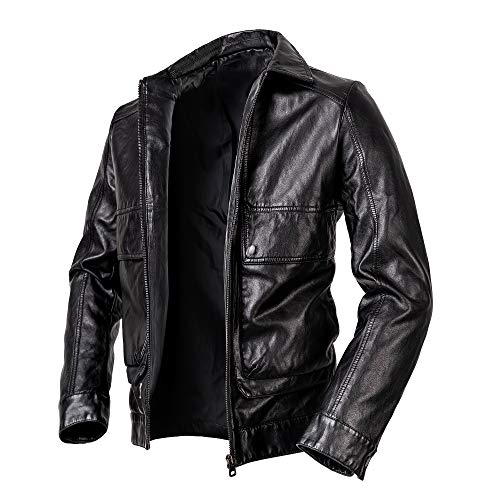 Men's Casual Stand Collar PU Faux Leather Zip-Up Motorcycle Bomber Jacket Vintage Stand Collar Pu Leather Jacke coats (BLACK-2, XL-Large)