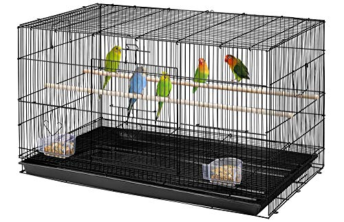 YAHEETECH Pack of 2 Stackable Rectangle Breeding Flight Parakeet Bird Cage for Finches Budgies Cockatiels Conures Lovebirds Canaries Parrots w/Slide-Out Tray