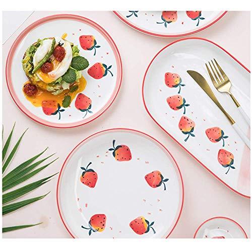 RoHuangyaohong Strawberry Keramikplatten Suppenschüsseln Haushalt-Netto-Rot Cartoons Reisschüssel Besteck