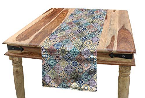 ABAKUHAUS Geométrico Camino de Mesa, Teja folclórico Efecto, Decorativo para el Comedor o Sala de Estar Fácil de Limpiar, 40 x 180 cm, Multicolor