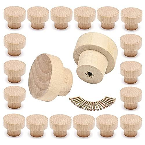 Woadham 20 pezzi Pomello tondo in legno naturale, Pomelli per Cassetti in Legno, Maniglia del cassetto in legno rotondo per mobili, Per Armadi, Cassetti, (35 mm * 26 mm)