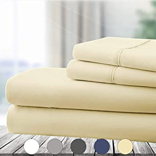 Abakan Queen Bed Sheet Set 4 Piece Super Soft Brushed Microfiber 1800 Series Hotel Luxury Egyptian Sheet Breathable, Wrinkle, Fade Resistant Deep Pocket Bedding Sheet Set (Queen, Ivory)