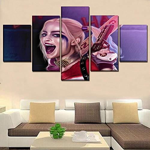 Yxsnow 5 Cuadro sobre Lienzo Sin Marco Mural Decoración del hogar Super película Garza Margot Robbie Suicidio Decorativo Impresiones En Lienzo Obras de Arte y Material Decorativo