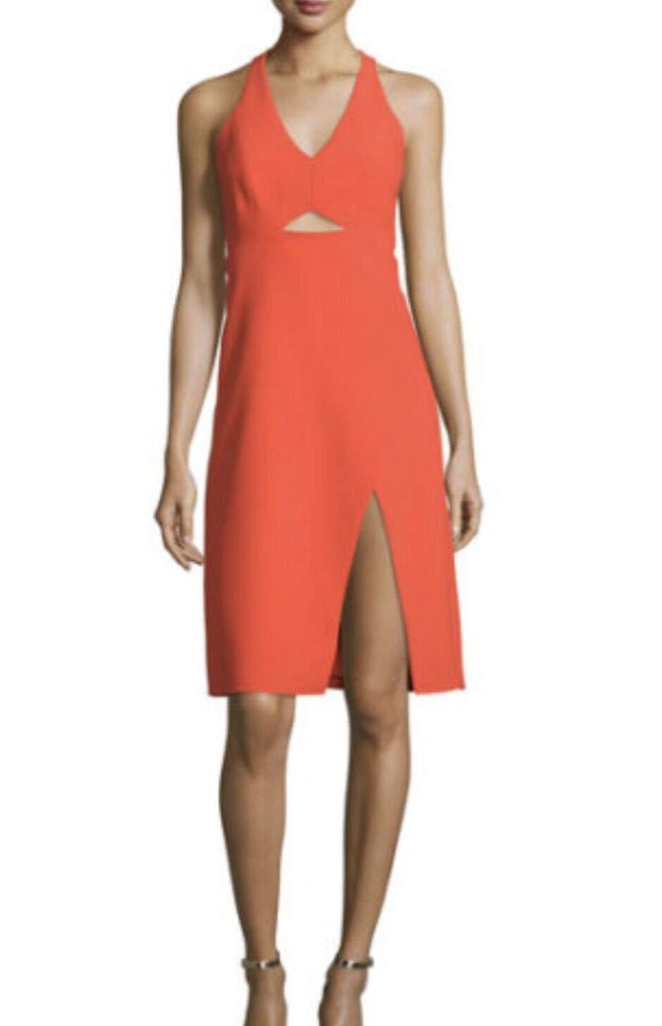 Available at Amazon: Halston Heritage Sleeveless V-Neck Sheath Dress with Side Slit Orange Size 8