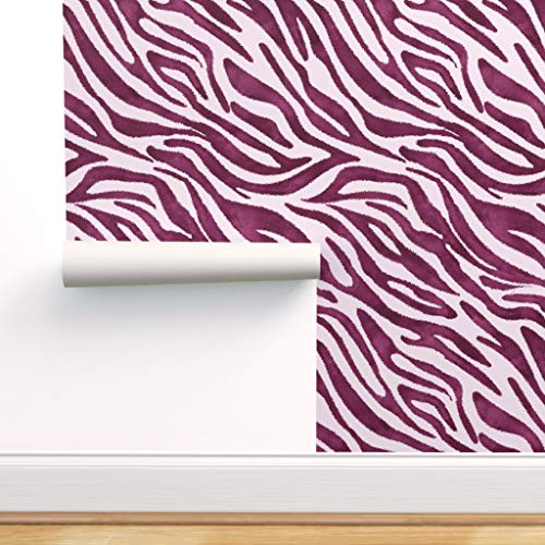 Spoonflower Peel and Stick Removable Wallpaper, Zebra Print Purple Large Scale Print, Self-Adhesive Wallpaper 24in x 36in Roll
