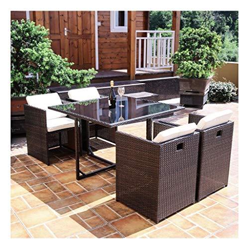 DYYD Juegos de Muebles de jardín Muebles de terraza Mesa y sillas de jardín Conjunto de Cristal Mesa de Centro Superior Patio Set Mesa de café Conversación Patio al Aire Libre