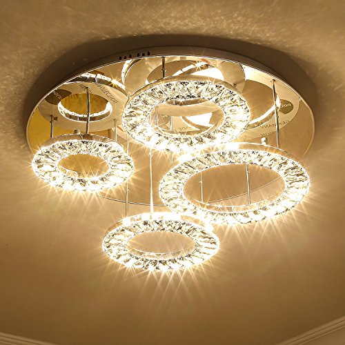 Saint Mossi Modern K9 Crystal LED 4 Ring Chandelier Lighting Flush Mount LED Ceiling Light Fixture Lamp Dining Room Bathroom Bedroom Livingroom Height 8 x Width 24