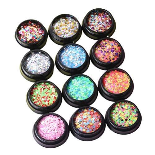 Lurrose paillettes à ongles ensemble boîte 12 étoiles étoile de lune irisée sirène ongles flocon paillettes nail art décor pour les femmes