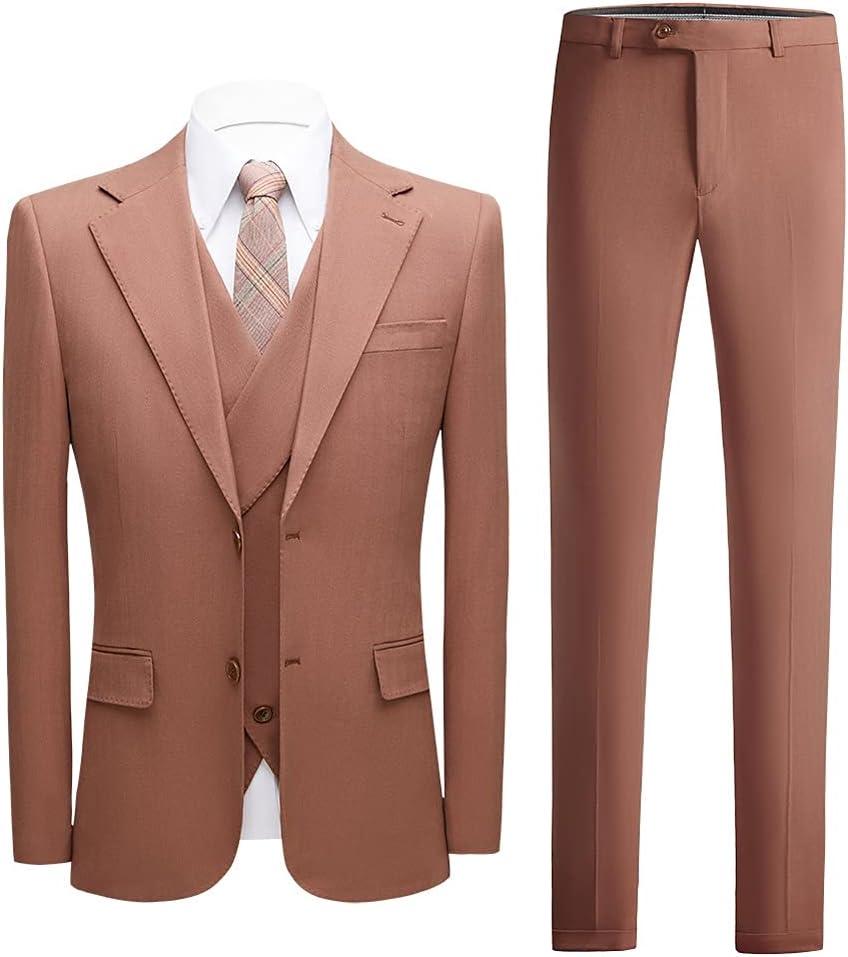GYZX 3 Piece Men's Wedding Suit Fashion Men's Slim Solid Color Business Office Suit Men Blazer+ Pants + Vest (Color : Light Brown, Size : XL for 65 to 70 kg)