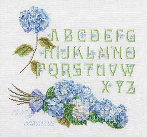 Thea Gouverneur - Kit Broderie Point de Croix (Points comptés) - 2088 - Fils DMC Pré-trié - Alphabet d'hortensia - Lin - 34cm x 36cm - Kit de Bricolage