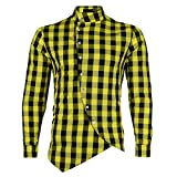 Mr.BaoLong & Miss.GO Camisa A Cuadros para Hombre Camisa De Cuello Alto A Cuadros para Hombre Camisa De Manga Larga con Cuello Alto A La Moda para Hombre Camisa Delgada De Gran Tamaño