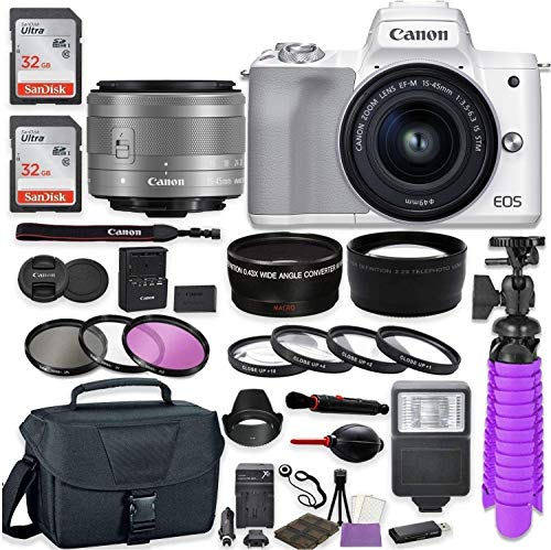 Canon EOS M50 Mark II Mirrorless Digital Camera (White) Premium Accessory Bundle with EF-M 15-45mm is STM Lens (Graphite) + Gadget Case + 64GB Memory + HD Filters + Auxiliary Lenses