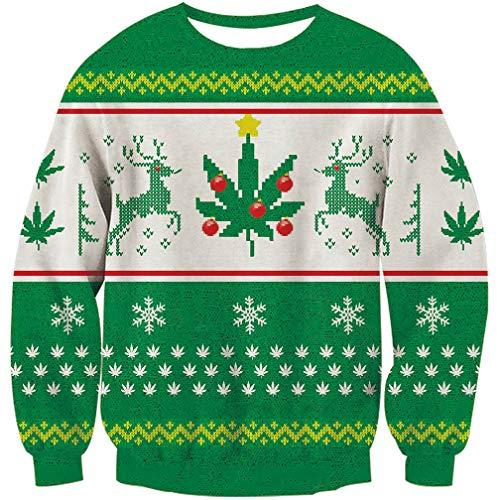Goodstoworld Christmas Reindeer Sweater Weed hässlich Mädchen Männer 3D Xmas Pullover Jugendliche Weihnachtspullover Grün S