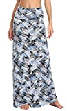 Urban CoCo Women's Stylish Spandex Comfy Fold-Over Flare Long Maxi Skirt (L, 4)