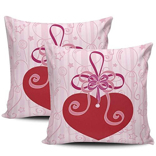 Festive with Heart Pink and Red Fundas De Almohada Elegante Almohada Cubierta Transpirables Tirar Almohada Cojin para Sofá Cama Coche Juego De 2, 40x40 cm