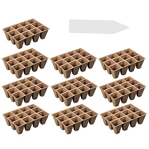 10 bandejas de iniciación de semillas, 12 rejillas de turba, plantas de entrantes, tazas de semillas, macetas biodegradables con 100 etiquetas para frutas vegetales, interiores y exteriores