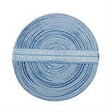 PXNH 10 yardas Color sólido Pliegue brillante Banda elástica Spandex Niños Lazo para el cabello Diadema Vestido Encaje Ribete Costura 5/8'15 mm azul antiguo