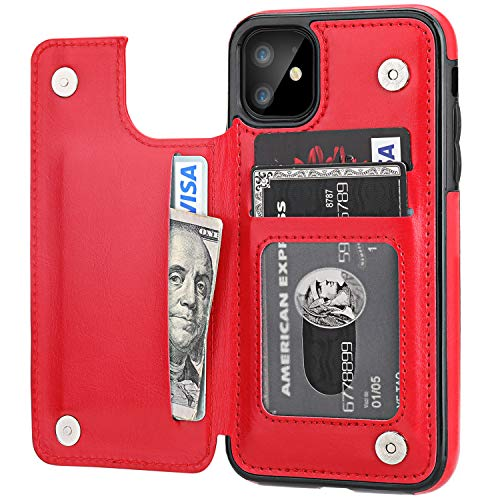 iPhone 11 Wallet Case with Card Holder,OT ONETOP PU Leather Kickstand Card Slots Case,Double Magnetic Clasp and Durable Shockproof Cover for iPhone 11 6.1 Inch(Red)