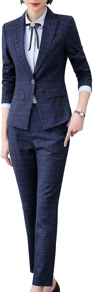 Women's Two Piece Plaid Open Front Long Sleeve Blazer and Elastic Waist Pant Set Suit