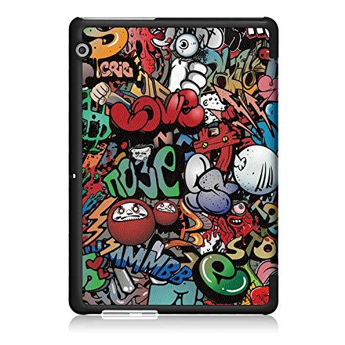 Xuanbeier Huawei MediaPad T3 10 Hülle Case-Ultra Dünn und Leicht PU Leder Schutzhülle Cover für Huawei MediaPad T3 10(9,6 Zoll) (Z-Graffiti) - 9