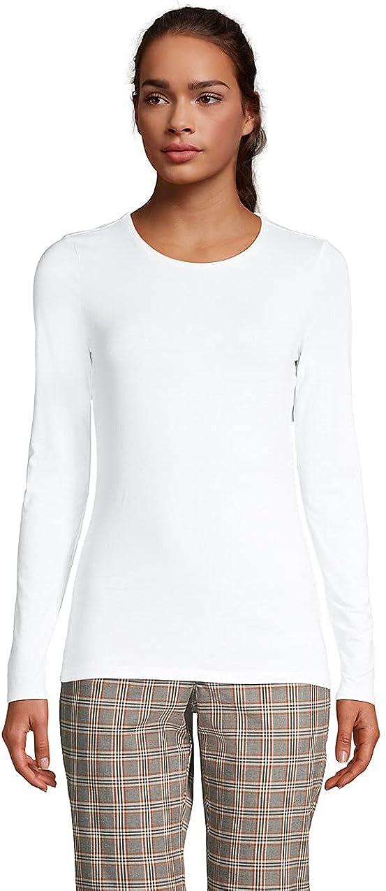 Lands' End Women's Lightweight Fitted Long Sleeve Crewneck T-Shirt