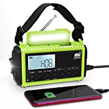 Emergency Radio Raynic 5000mAh Weather Radio Solar Hand Crank AM/FM/SW/NOAA Weather Alert Portable Radio with Cellphone Charger, Headphone Jack, Flashlight, Reading Lamp and SOS Alarm (Green)