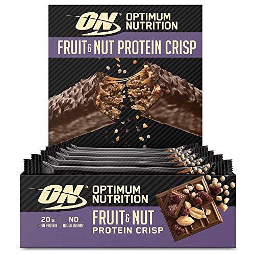 Optimum Nutrition ON Fruit & Nut Protein Crisp Bar, High Protein Snack with Milk Chocolate Coating, No Added Sugar, Peanut Butter, 10 x 70 g Pack