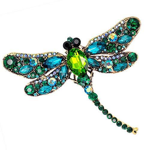 Funie Women's Fashion Dragonfly Crystal Brooch Lovely Rhinestone Scarf Pin Jewelry (Green)