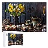 still Life Bouquets Narcisos Cakes Velas Madera 1000 Piezas Rompecabezas de Madera Único Rompecabezas de Gran Formato para Adultos Niños Adolescentes Familias Juegos Educativos y Juguetes.