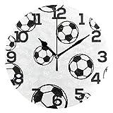 BONIPE, Orologio da Parete a Forma di Pallone da Calcio, in Acrilico Silenzioso, Non ticchettante, 25,4 cm, Decorazione per casa, Ufficio, Scuola