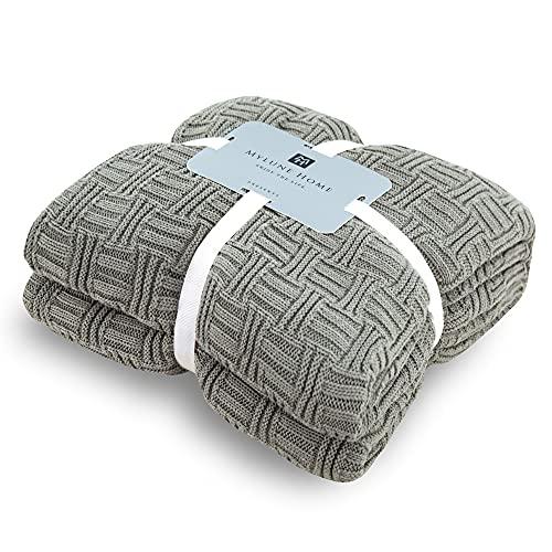 MYLUNE HOME 100% Coton Plaid Tricot pour Regarder La Télévision Ou Faire Une Sieste sur La Chaise, Le Canapé Et Le Lit (180x200cm, Gris)