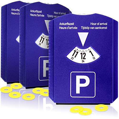 com-four Disco di parcheggio 3X con raschiaghiaccio, Labbro in Gomma e Chip per Carrello della Spesa - parchimetro in plastica (03 Pezzi - Disco di parcheggio con Chip)