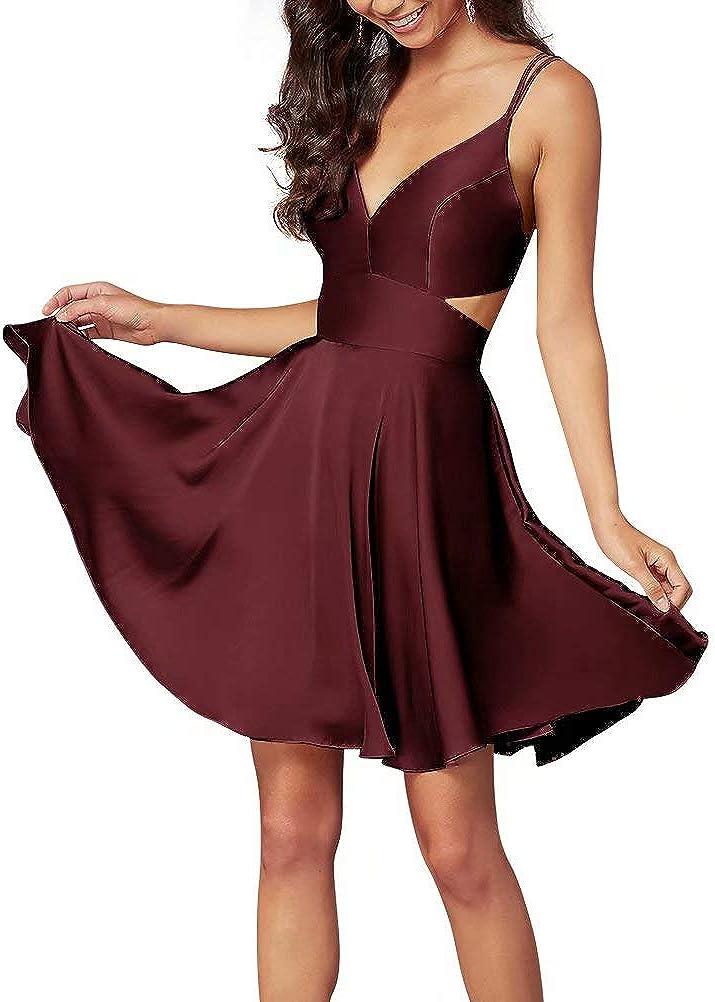 Spring new work LanierWedding Short Homecoming Dress Satin Spaghetti V-Ne Special price Straps