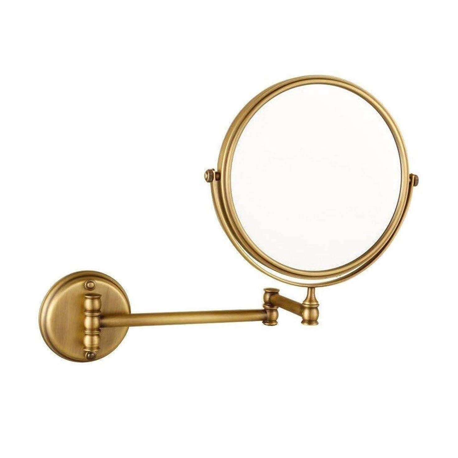 複製するこっそりもつれDong-WW 鏡 壁掛け化粧鏡銅アンティーク8インチのメイクアップミラー浴室の壁がマウント折りたたみ3X拡大鏡ダブルを両面(色:真鍮は、サイズ:8インチ3 X)
