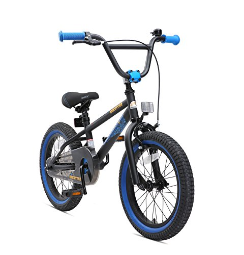 "BIKESTAR Bicicleta Infantil para niños y niñas a Partir de 4 años | Bici 16 Pulgadas con Frenos | 16"" Edición BMX Negro Azul"