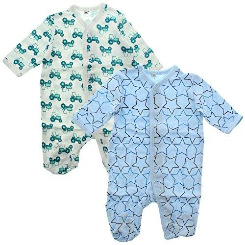 Pippi pak van 2 baby jongens slaaptramper met opdruk, lange mouwen met voeten, leeftijd 6-9 maanden, maat: 74, kleur: lichtblauw, 3821