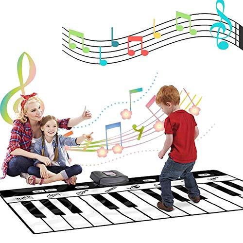 Piano Matte für Kinder, Tanzmatte Musikmatte Klaviermatte Klaviertastatur Spielzeug Touch Musical Teppich mit 24 Klaviertasten 8 Instrumente für Jungen Mädchen Geschenk (180 * 74CM)