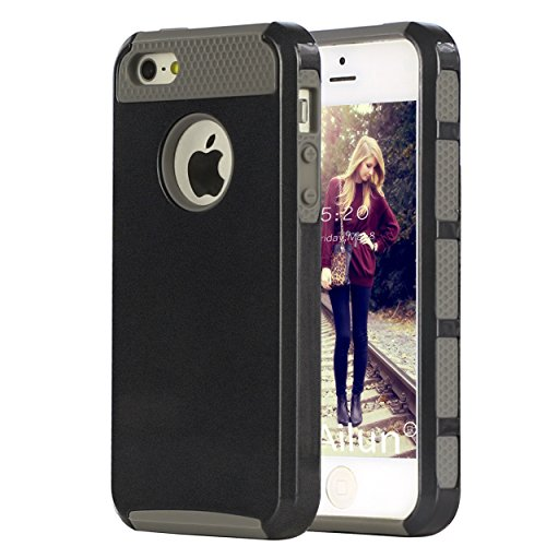 Ailun Phone Case for iPhone 5s/Se(2016)/5 Soft TPU Bumper Hard Shell Solid PC Back Shock Absorption Hybrid Dual Layer Slim Cover Black