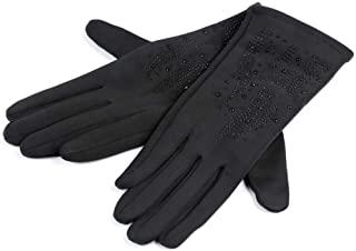 1pr (vel. L) Black Ladies Gloves with Crystals, Fall and Winter, Fashion Accessories