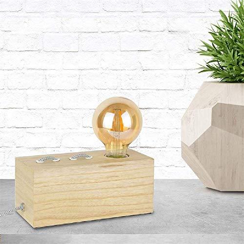 Cmp, Lampe à poser rectangle bois cable gris blanc