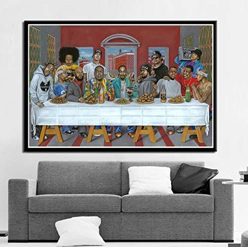 Poster Und Drucke Hip Hop Musik Rapper Star Legend Das Letzte Abendmahl Kunst Malerei Leinwand Wandbilder Für Wohnzimmer Wohnkultur 50 * 70 cm Ohne Rahmen