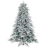 LordofXMAS White Flocked Christmas Tree Pre Lit Artificial 7.5ft with LED Lights