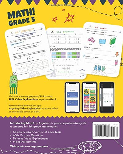 Introducing MATH! Grade 5 by ArgoPrep: 600+ Practice Questions + Comprehensive Overview of Each Topic + Detailed Video Explanations Included | 5th ... (Introducing MATH! Series by ArgoPrep)
